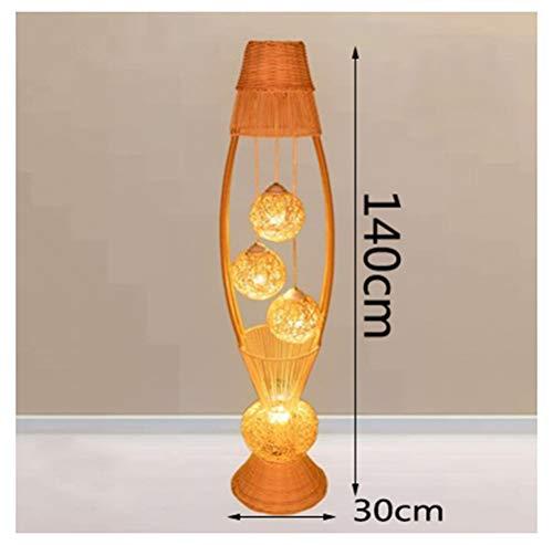 WYQSZ Floor Lamp Bedroom Bedside Table Warm Light Rattan Floor Lamp Classical Beauty Salon Foot Switch Vertical Table Lamp -6146 Table lamp (Shape : B)