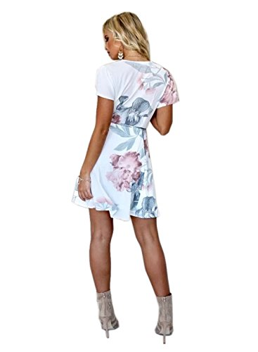 Short V heyinshangmao Flare Asymmetric Party C088baise Short Sleeves Floral Summer Mini Dress Print Sexy Women's Neck qSUEI