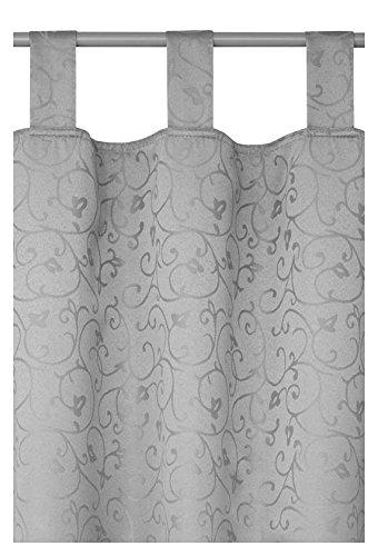 Schlaufenschal - Schlaufengardine - Dekoschal - Vorhang Blickdicht im Rokoko Design 140cm x 240cm in Silber