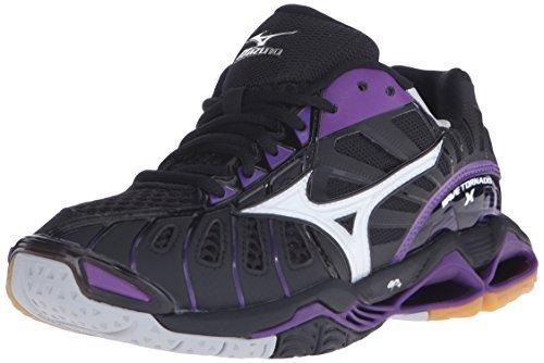 Mizuno Women's Wave Tornado x-w Volleyball Shoe, Black/Purple, 9 B US