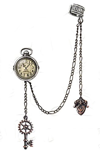 Steampunk Jewelry – Necklace, Earrings, Cuffs, Hair Clips Alchemy of England Steampunk Uncle Alberts Timepiece Ear Cuff Earring Jewelry $26.07 AT vintagedancer.com