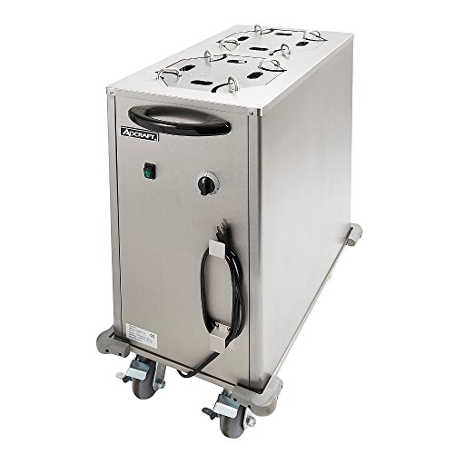 Enclosed Mobile Plate Dispenser - Adcraft LR-2 Mobile Heated Plate Lowerator Dispenser with Enclosed Cabinet