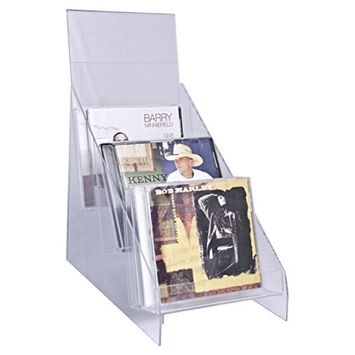 Acrylic Cd Holder - Clear-Ad - CDH-03 - Vertical Plastic Desktop CD Display Rack - Standing Countertop Acrylic Three Tier Compact Disk Holder with Sign Frame for Tabletop (Single Pack)