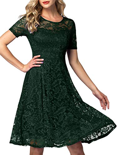 AONOUR Women's Vintage Floral Lace Elegant Cocktail Formal Swing Dress with Short Sleeve Dark Green XL