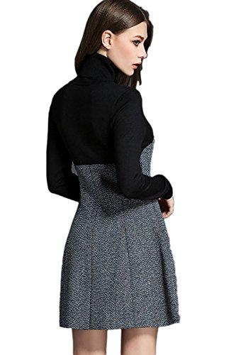Elegantes Langarm Stehkragen Colorblock Patchwork A Linie Kleid für Damen