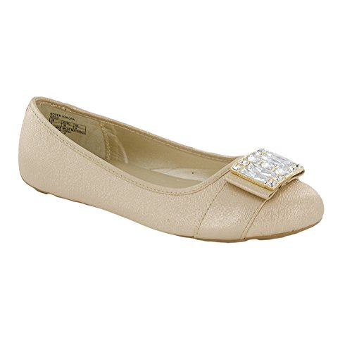 Michael By Michael Kors New Rover Kendra Gold Saffiano 2 Kids - For Girls Flats Mk