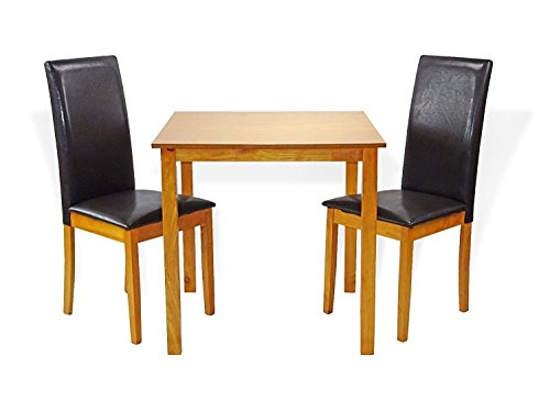(SunBear Furniture Dining Kitchen Set of Classic Square Table and 2 Chairs Fallabella Solid Wooden, Maple)