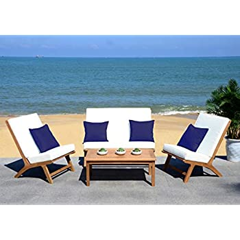 Amazon.com : Safavieh PAT7033A Collection Alda Teak and ... on Safavieh Alda 4Pc Outdoor Set id=23160
