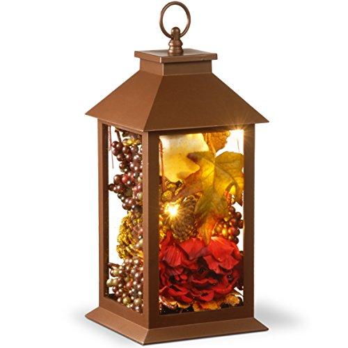 "National Tree 15"" Harvest Arrangment in LED Lantern"