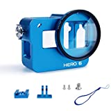 Luxebell Aluminium Alloy Skeleton Thick Solid Protective Case Shell with 52mm Uv Filter for Gopro Hero Black, Silver Camera - Wide Angle Mode Have No Vignetting (Hero 6 Case Blue)