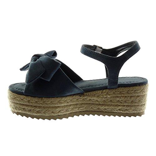 Mules 6 Corda Scarpe Caviglia Cinturino Angkorly Zeppe Alla Donna Moda cm Nodo Sandali Blu Intrecciato Tacco Piattaforma con Zeppa StxqqaPd