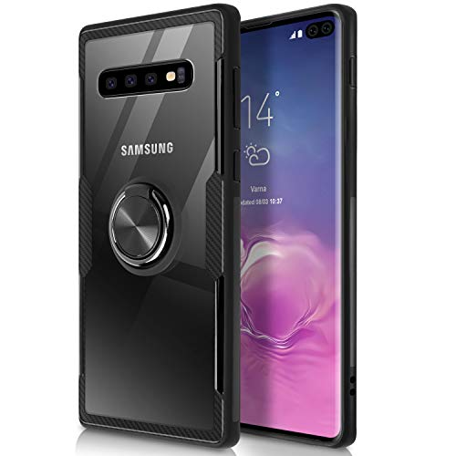 WATACHE Galaxy S10 Plus Case, Clear Crystal Carbon Fiber Design Armor Protective Case with 360 Degree Rotating Finger Ring Grip Holde Stand [Magnetic Car Mount Feature] for Galaxy S10 Plus - Crystal Fiber Style Case Carbon