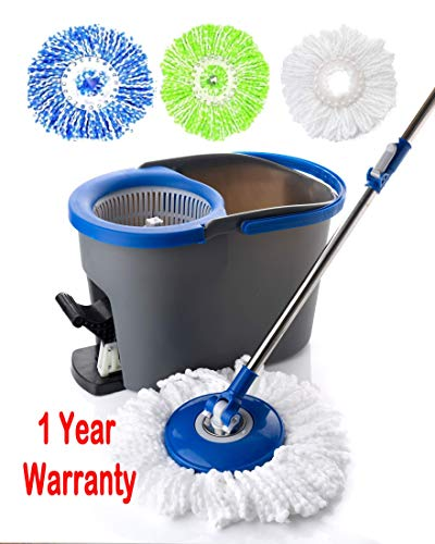 Simpli-Magic 79154 Spin Cleaning System-3 Microfiber Mop Heads Included, Industrial (Renewed)