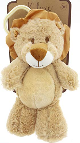 Soft Plush Stroller Toy - Brown Lion with Rattle and Clip