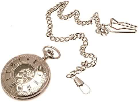 Silver colour metal cased half hunter pocket watch with window, chain and fob