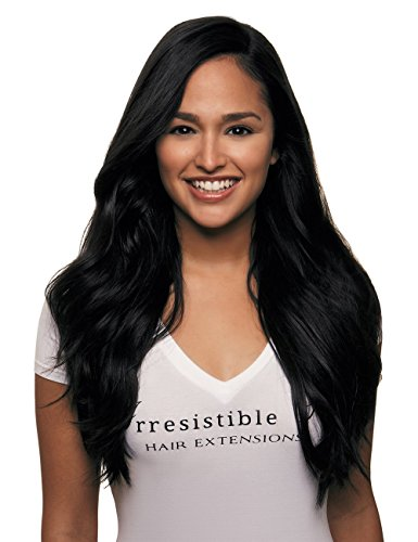 IRRESISTIBLE ME 1 piece Clip in Hair Extensions Jet Black (Color #1) - 100% Human Remy (Remi) Hair clip ins – Straight 1 Weft Set Clips - Signature Quad Weft - 24 Inches 80 grams (quad-1-24-80)