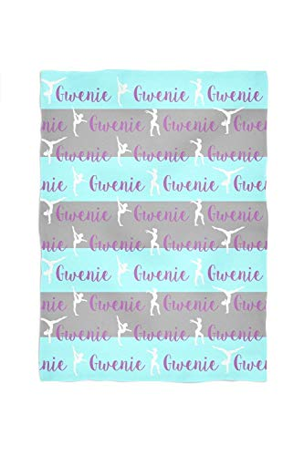 (Gymnastics Personalized Throw Blanket Stripes and Name Pattern)