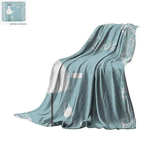 Luoiaax Bridal Shower Warm Microfiber All Season Blanket Vintage French Inspired Bride Dress with Floral Frames Desiign Print Summer Quilt Comforter 60