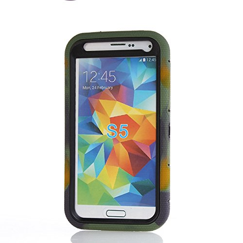DLF Case Shock&drop-proof Amy-grade Protective Hard Defender with 360 Degree Rotating Ring Bracket Protective Case and Tpu Rubber & Silicone Case with Stand & Clip Three Layer Hard Shell Cover Holster for Samsung Galaxy S5 I9600 (Camo+Black)