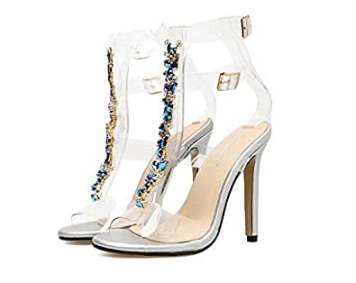 Womens Pointy Toe Transparent Clear Lucite Stiletto High Heel Pump Sandal Shoes Dress Sandals (Transparent 36/5.5 B(M) US Women)