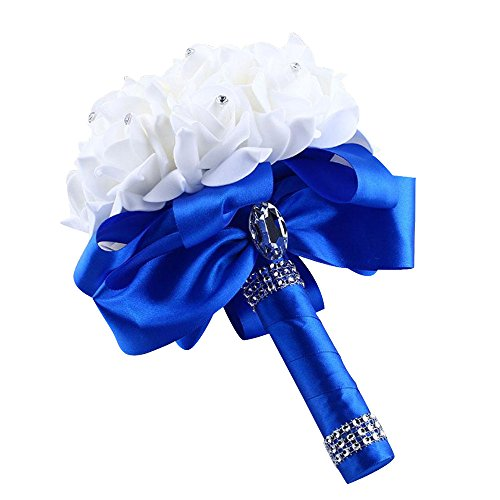 Maikouhai Holding Flowers, Crystal Rose Pearl Bride Bridesmaid Wedding Bouquet Bridal Silk Artificial Flowers Party Decor for Home Cafe Hotel Bedroom, 25x20cm (Blue)