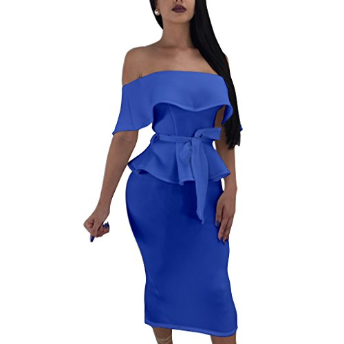 Women's Ruffle 2 Piece Dress Boat Neck Off Shoulder Top + Hip Package Midi Skirt X-Large Blue