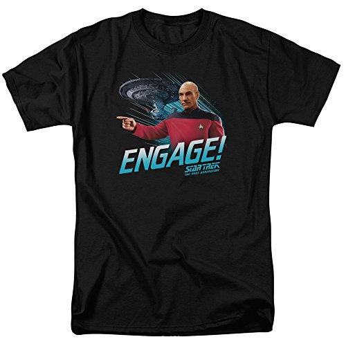 Star Trek Next Generation TV Series Jean Luc Picard Engage Adult Mens T-Shirt