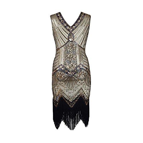 Flapper vestidos de mujer de los años 20 con cuello en V con cuentas de flecos Great Gatsby Dress: Amazon.es: Ropa y accesorios