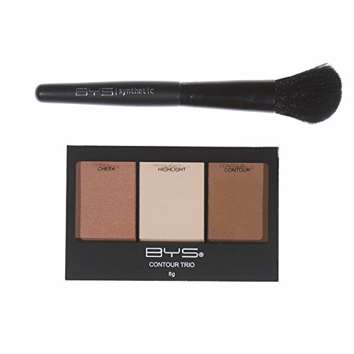 BYS Makeup Contour Kit Trio Palette and Brush, Lift Contour Highlight - Color Best Is For Skin What Pale