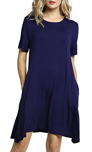 Navy Casual Plus Sleeve Short Afibi Swing Dresses T Blue Size Loose Shirt Pockets Women's xqpxC70wF