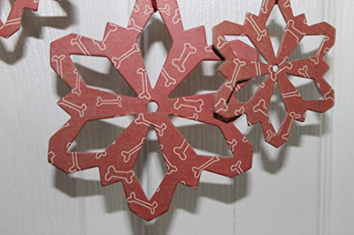 (10 Dog Bone snowflake ornament decorations.paper+chipboard large/small die cuts)