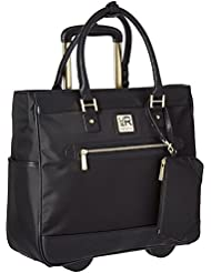 """Kenneth Cole Reaction Women's Runway Call Nylon Twill Top Zip 17"""" Wheeled Laptop Business Tote, Black"""