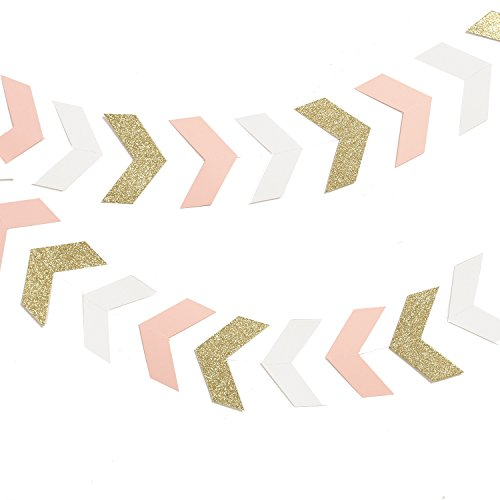 Lings Moment 10 Feet Tribal Banner, Arrow Banner, Chevron Arrow Head Garland, Bunting Pennant Garland for Christmas, Wedding, Baby Shower, Nursery, Event & Party Supplies, 40 pcs(Pink+Gold+White)