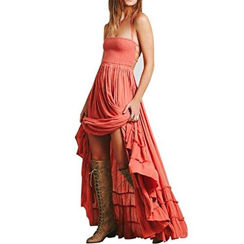haoricu Women Dress, 2017 Womens Elegant Sexy Summer Strappy Backless Long Beach Ladies Dress (M, Orange)