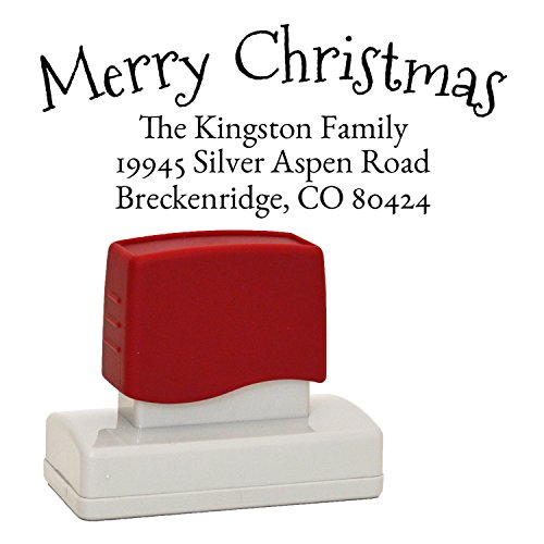 Christmas Rubber Address Stamp, Customized with either Merry Christmas or Happy Holiday Self-Inking Stamper in your choice of ink