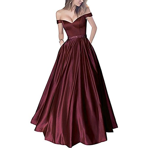 Lemai Off Shoulder Beaded Satin V Neck Corset Long Prom Dress Evening Gown Burgundy US 6 - Corset Long Gown