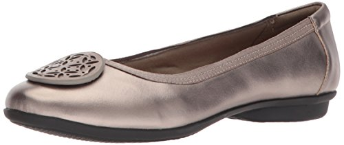 CLARKS Women's Gracelin Lola Ballet Flat, Pewter Metlaiic Leather, 11 Medium US