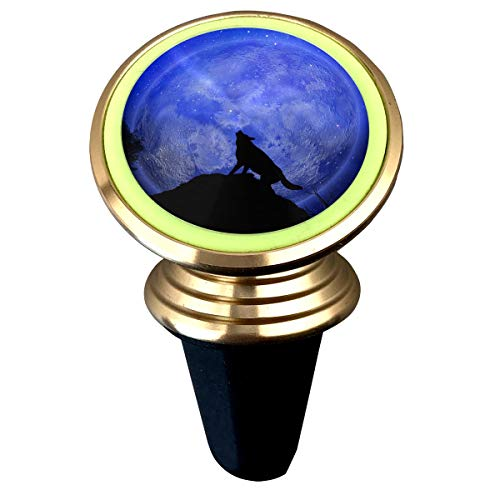 (Halloween Wolf Howling Moon Background Magnetic Phone Car Mount Holder Luminous Green Ring 360° Rotation Compatible For IPhone Sumsung Galaxy Pixel LG Huawei Android Smartphones GPS And Tablet)