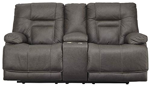 (Signature Design by Ashley U5460218 Wurstrow Power Reclining Loveseat with Console, Smoke)