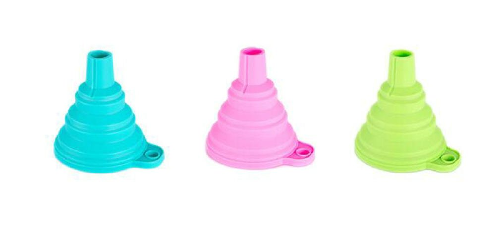 Leisial 3 pcs Silicone Folding Funnel Long Neck Household Kitchen Funnel Oil Folding Funnel High Temperature Resistance Hopper(Random color)