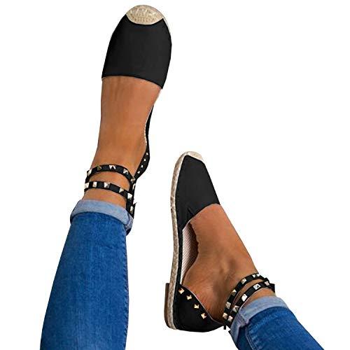 Knöchel Sandale Klassischen Ausgeschnitten schwarz Schnalle Flache 2 Espadrilles Binden Riemen Niet Damen Gemijacka Schuhe Sommer 5qHpwAx