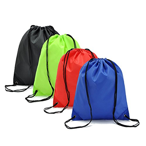 Carlie 4 Pack Drawstring Backpacks Gym Bags Waterproof Canvas Nylon for Travel Sport Birthday Party Storage Clothing Shoes by Carlie