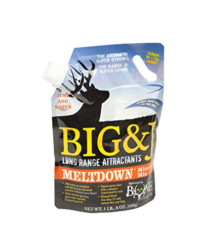 Big & J Meltdown Mineral Mix, Long Range Deer Attractant, Mineral Blend (Less than 1% Salt) Attracts Deer Year Round, Vapor Producing Mixture, Whitetail Hunting, 1.5 Pound Mix N Pour Container (Best Deer Mineral Attractant)