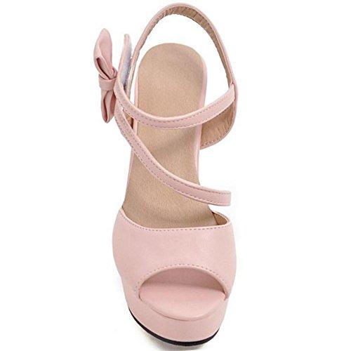 Sandales Sangle Femmes Pink AicciAizzi Bowknot Ete Cheville wqgxUpFP