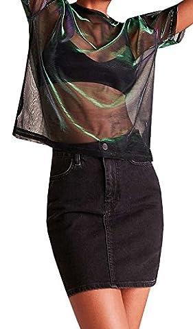 Sherrylily Women's Shimmer Metal Flash Tee Shirt Translucent See Through Tops Mesh T-Shirts Tops - Womens Shimmer