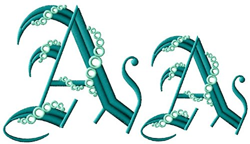 ThreaDelight ABC Machine Embroidery Designs Set - Seafoam Gothic Alphabet Machine Embroidery 52 Designs - Capital Letters in Two Sizes - 4