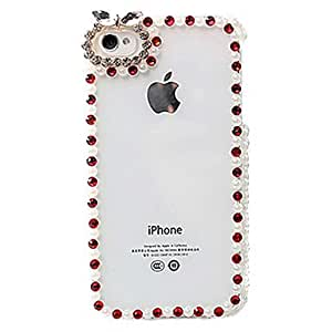 Mini - Crystal Surface Covered Frame for iPhone 4/4S , Color: Red