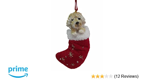 amazoncom goldendoodle christmas stocking ornament with santas little pals hand painted and stitched detail pet supplies - Goldendoodle Christmas Decorations