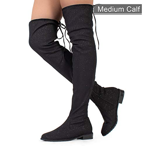 Knee Pull High (RF ROOM OF FASHION Stretchy Over The Knee High Back Tie Riding Boots Black (8.5))