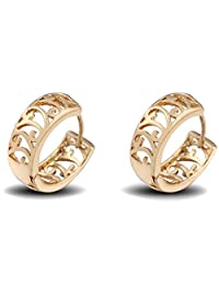 Women Golden Hollowed Ear Studs Copper Gold Plated Fashion Style Earrings Boucles D'oreilles